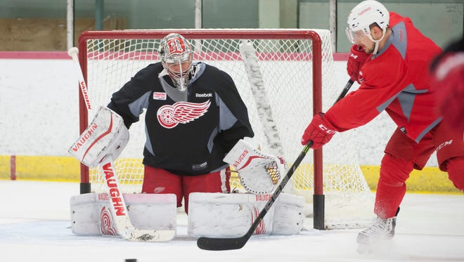 Red Wings' Petr Mrazek was back to work Friday after a 44-save performance against the Lightning in Game 1.
