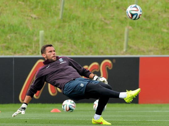 England goalkeeper Ben Foster in action during a training session at George's Park in Burton on Trent, England, Tuesday, May 27, 2014. England play an international soccer friendly against Peru at Wembley on Friday May 30th. (AP Photo/Rui Vieira)