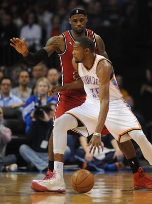 Oklahoma City Thunder forward Kevin Durant (35) and Miami Heat forward LeBron James (6) will square off Wednesday in a battle of the top-two MVP candidates.