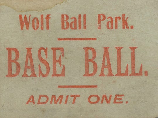 Wolf Base Ball Park ticket from the early 1890s.