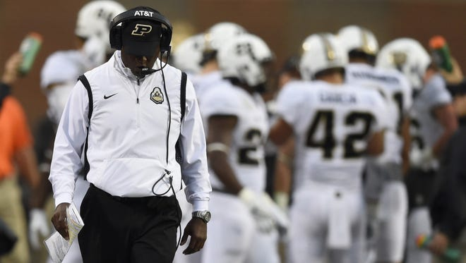 The Boilermakers on Saturday fell to 2-23 in Big Ten Conference games under fourth-year head coach Darrell Hazell. Purdue head coach Darrell Hazell walks down the sidelines against Maryland during the fourth quarter at Byrd Stadium of the Terrapins' 50-7 victory.