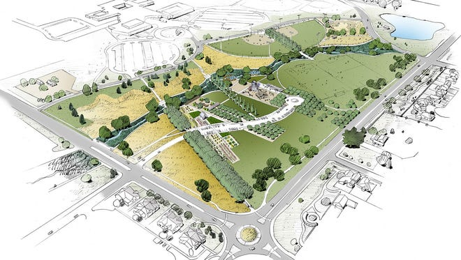 A conceptual drawing for Southeast Community Park under construction near the intersection of Kechter and Ziegler roads.