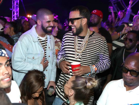 Rappers Drake (L) and French Montana attend The Levi's