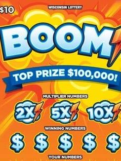 Wisconsin Lottery's Boom scratch ticket.