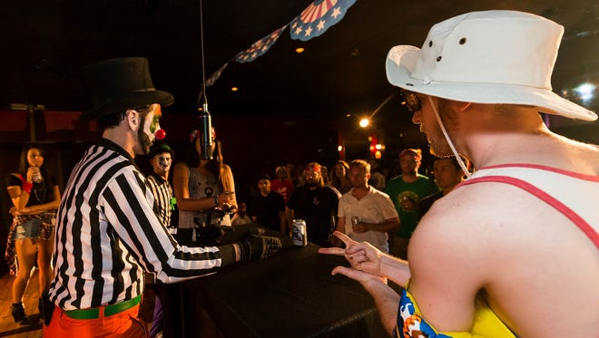Competitors battled in the first Rock Paper Scissors Indy City Championship in May 2014. The second tournament will happen on Jan. 30 at White Rabbit Cabaret.