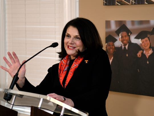 UT Chancellor Beverly Davenport spent her first morning on the job Wednesday, Feb. 15, 2017 talking to students and media.