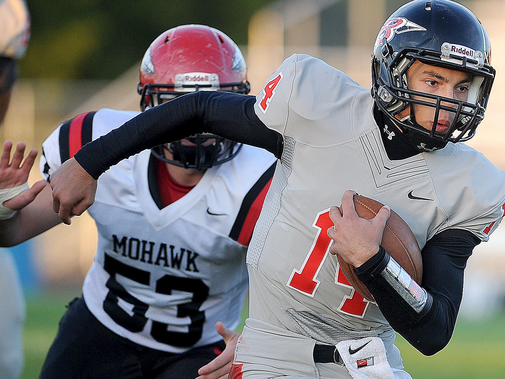 Bucyrus quarterback Cole Murtiff finds room to run against Mohawk last season. Murtiff will play for the North all-stars after rewriting his school's passing records.