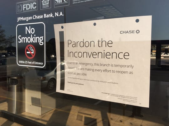 Chase Bank on Mooney Boulevard was temporarily closed