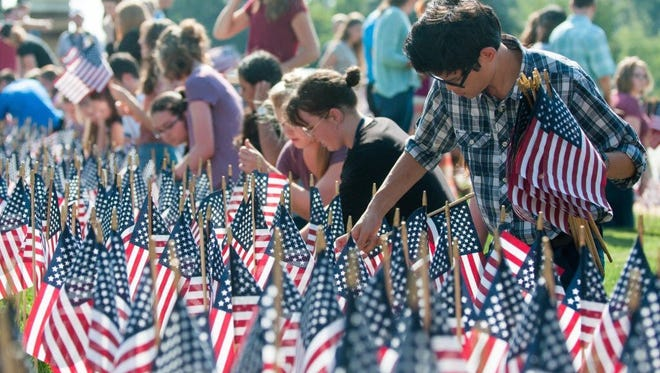 Bob Jones University students are displaying 2,977 American flags in honor of the victims who perished in the 2001 terrorist attacks.