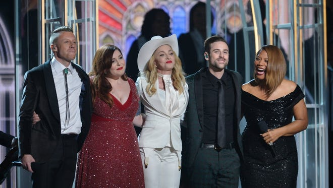 The Grammys, featuring a performance by Mackemore and Ryan Lewis, Mary Lambert and Madonna, put together 33 marriages and 28.5 million viewers.
