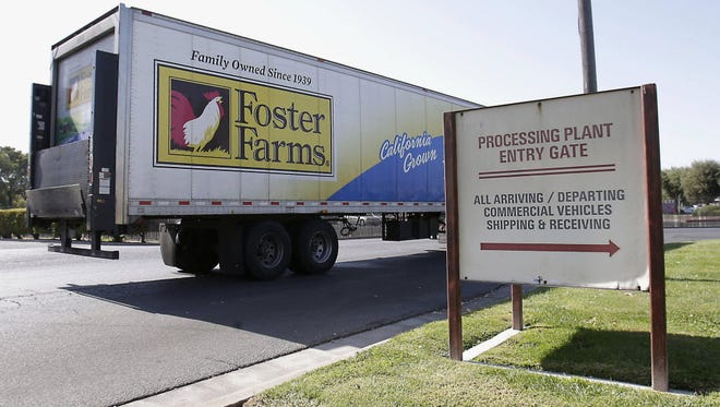 A truck enters the Foster Farms processing plant in Livingston, Calif., on Oct. 10. An outbreak of antibiotic-resistant salmonella linked to a California chicken company is ongoing after more than a year.