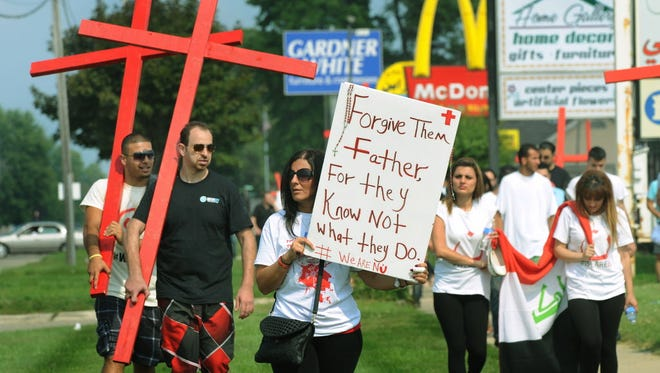 Protesters in Sterling Heights, Mich., on Sunday.