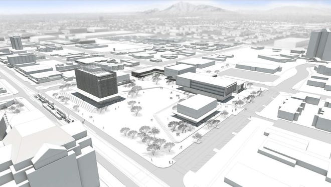 A rendering of the proposed Arizona State University campus in downtown Mesa.