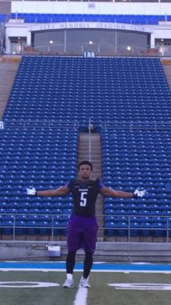 Perkins during his visit to MTSU on Wednesday.