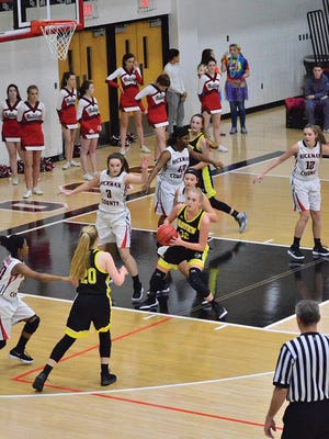 The Fairview High School Lady Jackets in action on the basketball court against Hickman County December 12, 2017.