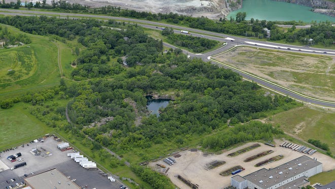 A park in Waite Park, seen from the air in June 2015 is near Parkway Drive and 17th Avenue South, just west of Menards and south of Minnesota Highway 23. This is the proposed site for a new amphitheater.
