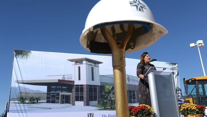The Hospitals of Providence CEO Sally Hurt-Deitch speaks during the groundbreaking ceremony Thursday for the company's microhospital at McCombs Street and the Patriot Freeway in Northeast El Paso. It will be Providence's second microhospital in the El Paso area, joining one in Horizon City.