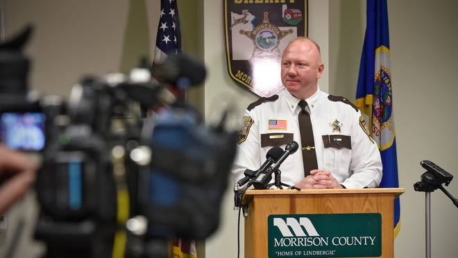 Sheriff Shawn Larsen speaks during a press conference with more details in the homicide case of Terry Brisk Friday, Nov. 3, at the Morrison County Government Center in Little Falls. Brisk was murdered Nov. 7, 2016, while hunting deer on family land near Little Falls.