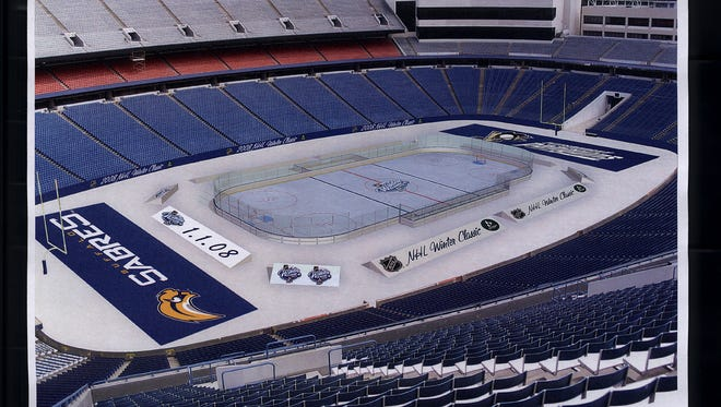 Here's what Ralph Wilson Stadium looked like before the Buffalo Sabres and the Pittsburgh Penguins played the first Outdoor Classic hockey game in January 2008.