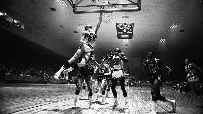 The Kentucky Colonels battled the Minnesota Muskies in an American Basketball Association game at the the Armory in Louisville.   March 29, 1968