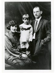 Leonard Bernstein is shown here with his parents, Jenny
