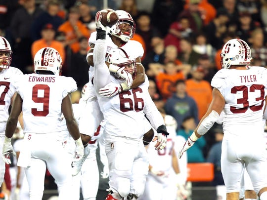 Stanford defensive lineman Harrison Phillips (66) celebrates after recovering a key fumble during the second half against Oregon State in Corvallis.