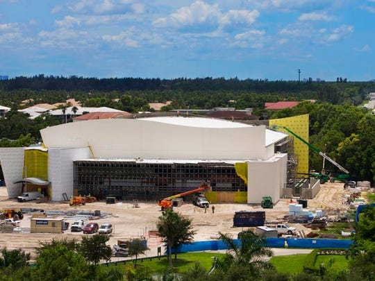Construction continues Wednesday, Aug. 17, 2016, on Florida SouthWestern State College's new arena in south Fort Myers. The arena will host athletic, cultural and civic events.
