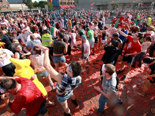 The East Side Tomato Romp, featuring a massive tomato fight, will unleash it's scarlet fury on Saturday.