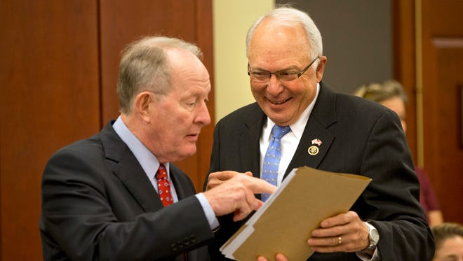 Senate Health, Education, Labor and Pensions Chairman Lamar Alexander, R-Tenn., left, and House Education and the Workforce ChairmanJohn Kline, R-Minn., talk on Capitol Hill on Nov. 18, 2015, before a meeting of House and Senate negotiators trying to resolve competing versions of a rewrite to the No Child Left Behind education law.