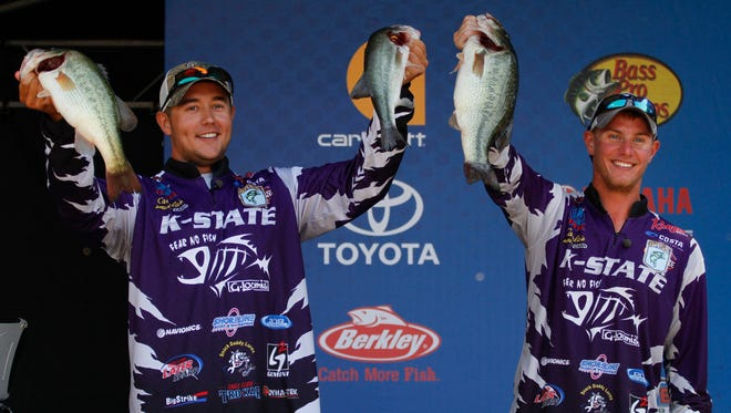 Kansas State's Kyle Alsop, left, and Taylor Bivins won the 2016 Carhartt Bassmaster College Series National Championship Saturday on Green River Lake with a three-day total of 36 pounds, 4 ounces.
