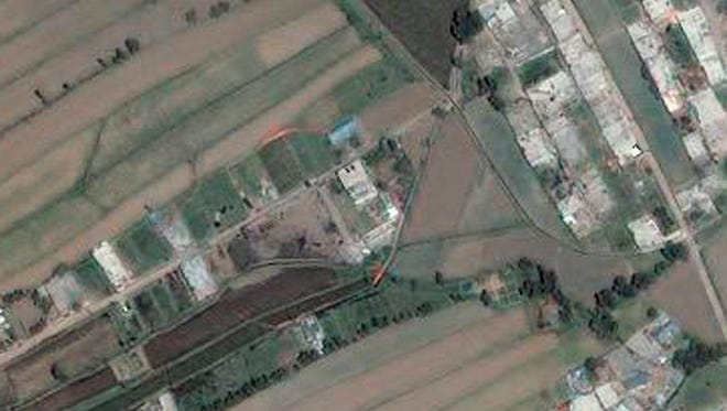 A satellite image of the bin Laden compound in  Pakistan.