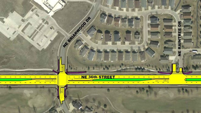 A diagram of the east side of the Northeast 36th Street reconstruction project in Ankeny.