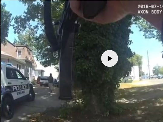This image taken from a Vineland police officer's body cam shows the scene shortly before 37-year-old Rashaun Washington was fatally shot on July 14 in Vineland.