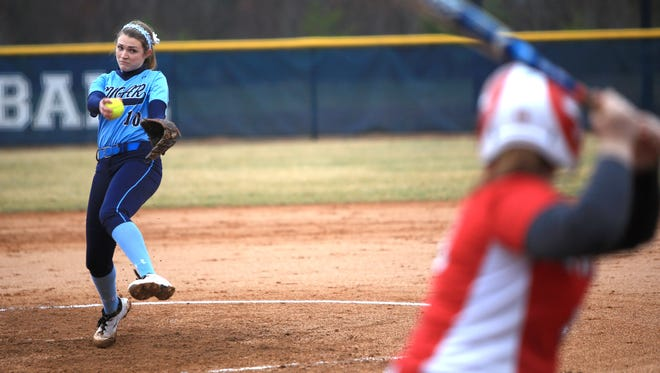 Katie Grace Olinger was 14-0 as a sophomore for the Enka softball team this past season.