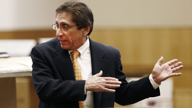 "Maricopa County Prosecutor Juan Martinez, shown at the trial of Jodi Arias, is listed as the prosecutor of record in the ""Serial Street Shooter"" case, court records show."