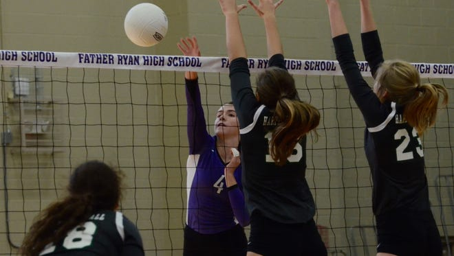 Father Ryan's Olivia Rolick notches a kill during Saturday's win over Harpeth Hall.
