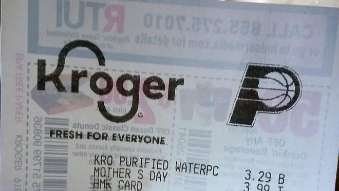 An Indiana Pacers logo can be found atop receipts from Kroger supermarkets in the Peoria area.
