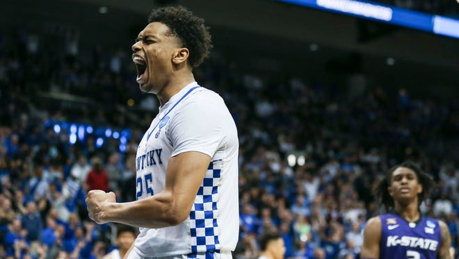 Kentucky's PJ Washington celebrates after getting the foul but it was the other Wildcats of Kansas State that won 61-58 in Thursday night's Sweet Sixteen game in Atlanta. Washington finished with 18. March 22, 2018.