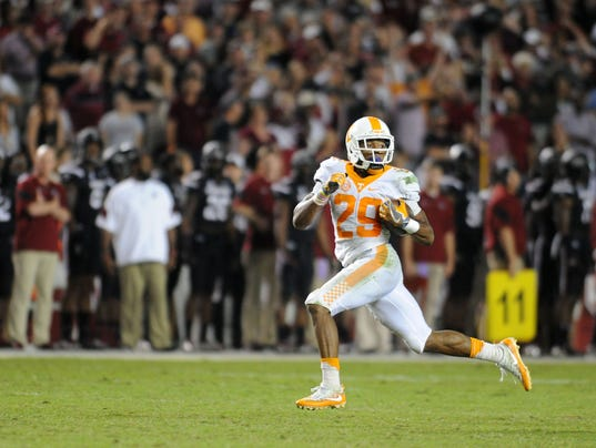 Tennessee football 2017 breakdown special teams has stars tennessee defensive back evan berry looks behind him while returning a kickoff 100 yards for a touchdown during the second half saturday oct 29 2016 publicscrutiny Gallery