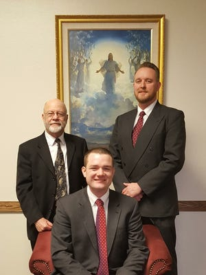 Mountain Home Ward of the Church of Jesus Christ of Latter-day Saints has annoucnednew leadership: Bishop Jonathan Ducker (middle), hails from England where his parents and brother still reside. First Counselor, Bill Friend (left), has a local Fishing Guide business. Second Counselor, Patrick Howald (right), works at the Baxter Regional Pain Management Clinic.