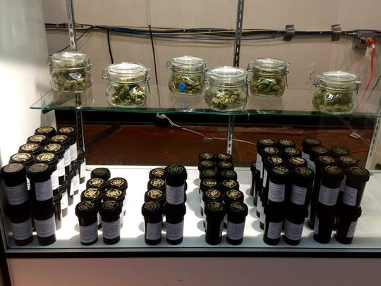 A display case inside the High Level Health marijuana