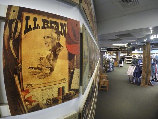 A portrait of Leon Leonwood Bean is seen on a catalog cover displayed at the L.L. Bean flagship store in Freeport, Maine.
