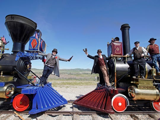 ***BESTPIX*** 150th Anniversary Of The Transcontinental Railroad Celebrated At Golden Spike National Park