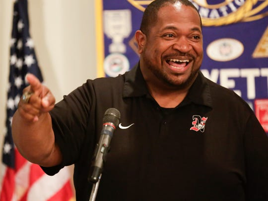 Northside Haed Coach John Simmons speaks during the Annual Kiwanis High School Football Crying Towel luncheon in Lafayette Tuesday, August 22, 2017.