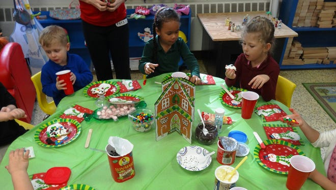 Preschool students at Cumberland Christian School in Vineland enjoyed searching for their gingerbread men cookies.