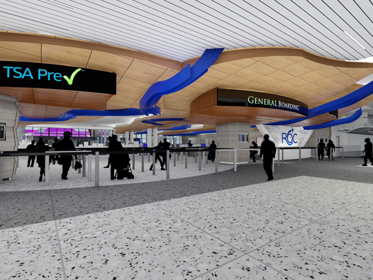 A rendering shows the new security checkpoint at the Greater Rochester International Airport.
