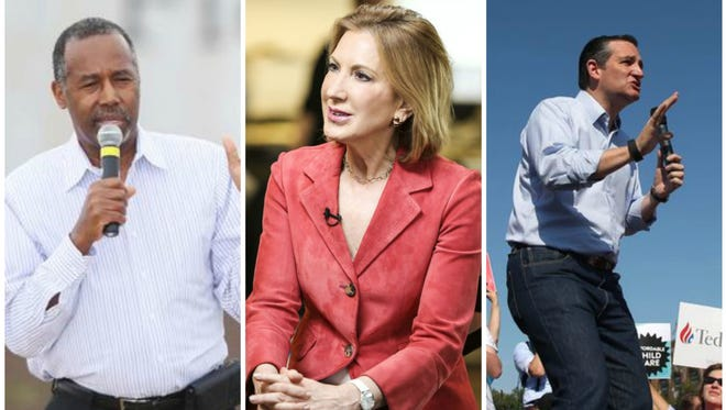 Register analysis finds the three GOP candidates best positioned to rise are (from left) Ben Carson, Carly Fiorina and Ted Cruz.