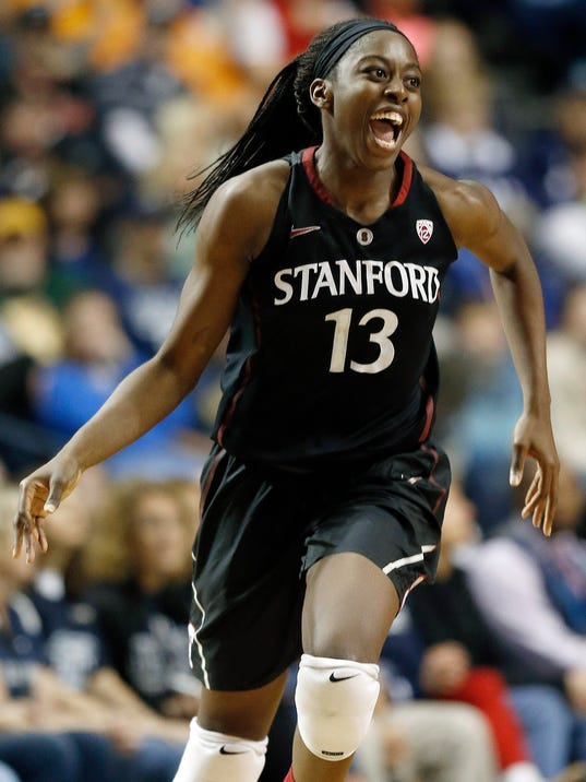 FILE - In this April 6, 2014 file photo, Stanford forward Chiney Ogwumike celebrates a basket against Connecticut during the second half of the semifinal game in the Final Four of the NCAA women's college basketball tournament Nashville, Tenn. The Connecticut Sun chose Ogwumike as the first pick in the 2014 WNBA draft. The Sun will host the New York Liberty to open their season Friday, May 16, 2014 in Uncasville, Conn.  (AP Photo/John Bazemore, File)