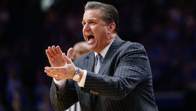 Kentucky Wildcats head coach John Calipari cheers on his team against the LSU Tigers during the second half at Rupp Arena in Lexington, KY on Tuesday, February 7, 2017. Kentucky defeated LSU 92-85.