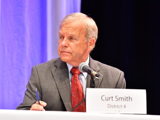 Curt Smith participates in a recent FLORIDA TODAY candidate forum for Brevard County Commission District 4 at Eastern Florida State College's Cocoa campus.